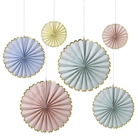 Meri Meri Pastel & Gold Foil Pinwheel Decorations party supplies Australia