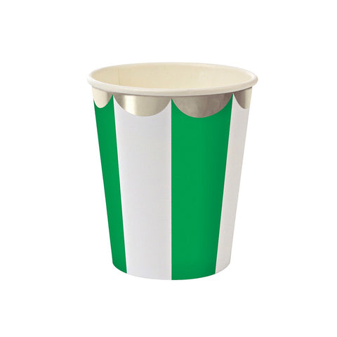 Meri Meri Green and Silver Stripe Paper Cups Australia