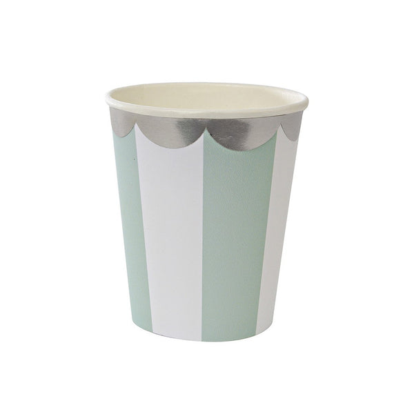 Meri Meri Toot Sweet Mint and Silver Stripe Cups Australia