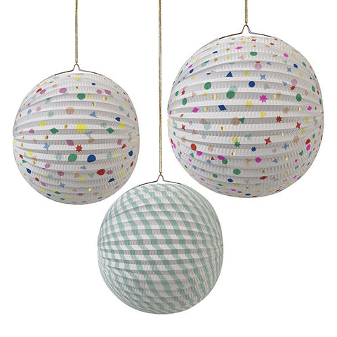 Meri Meri Paper Lantern Confetti Charms and Stripes Party Decorations Australia