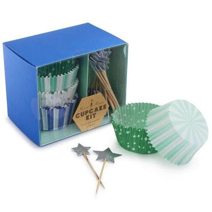 Meri Meri Toot Sweet Silver and Blue Cupcake Kit Australia