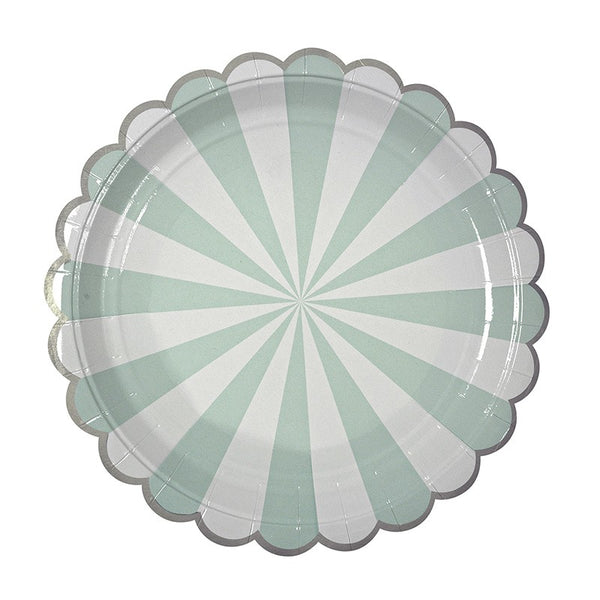 Meri Meri Toot Sweet Mint Striped Plates Australia
