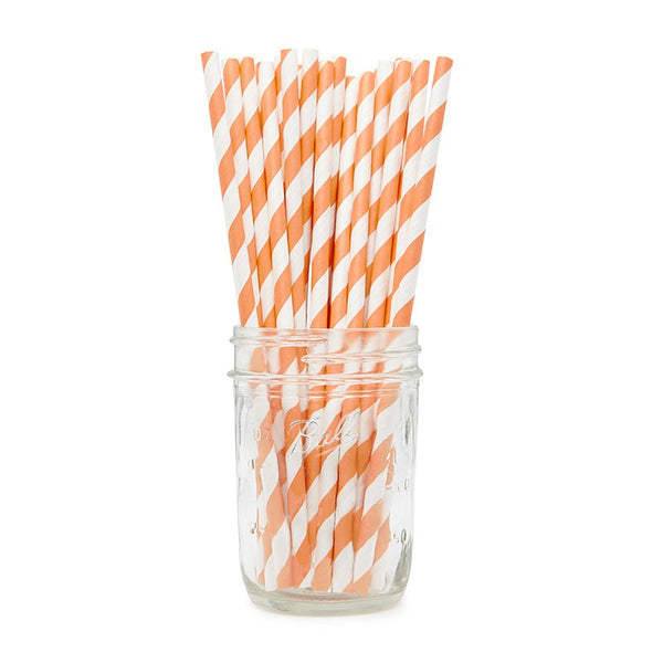 Orange Stripy Paper Straws Australia