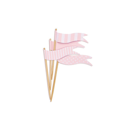 Paper Eskimo Marshmallow Pink Flag Cupcake Toppers
