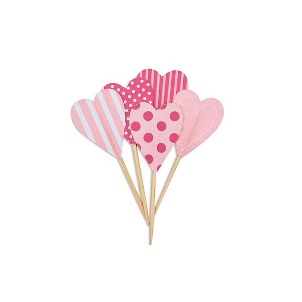 Paper Eskimo Pink Floss Heart Cupcake Toppers Australia