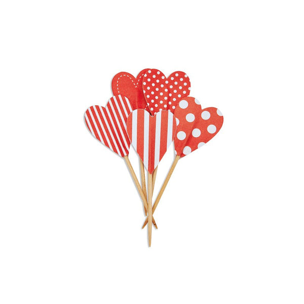 Paper Eskimo Red Candy Cane Heart Cupcake Toppers Australia