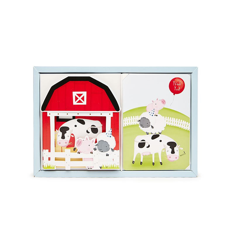Paper Eskimo Farmyard Friends Poppit Birthday Party Invitations Emiko Blue