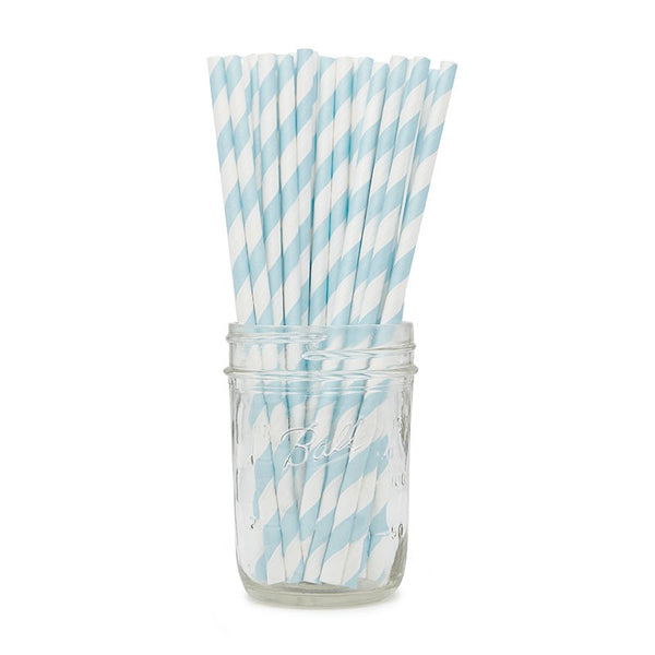 Powder Blue Stripy Paper Straws Australia
