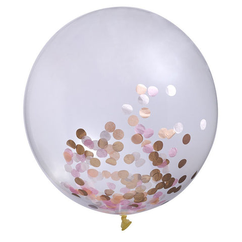 Rose Gold, Pink, Peach & White Confetti Balloon Australia