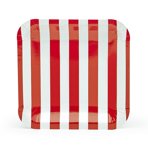 Sambellina Red Candy Stripe Square Plates Australia
