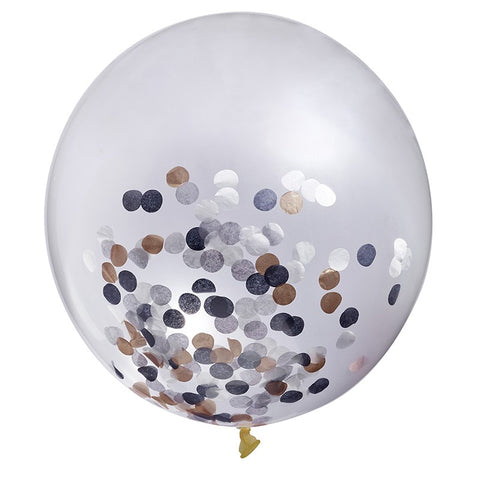 Gold, Black, White & Grey Confetti Jumbo Balloon