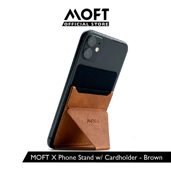 MOFT X Brown - [AU Stock] Invisible and Foldaway Mobile Stand | Ultra-Light Phone Wallet, Car Phone Holder