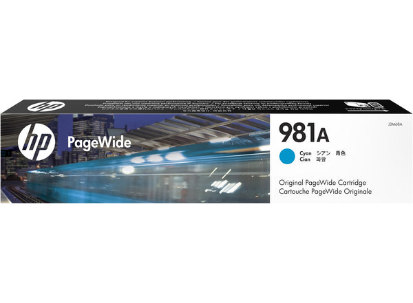 HP 981A / J3M68A Cyan Ink Cartridge ~6,000 Pages For PageWide EnterPrise Color 586 556