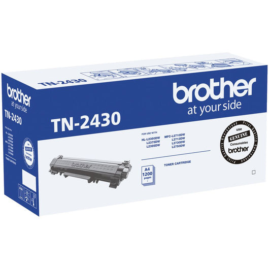 1 x Genuine Brother TN-2430 |  TN2430 Black Toner. Up to 1200 pages.