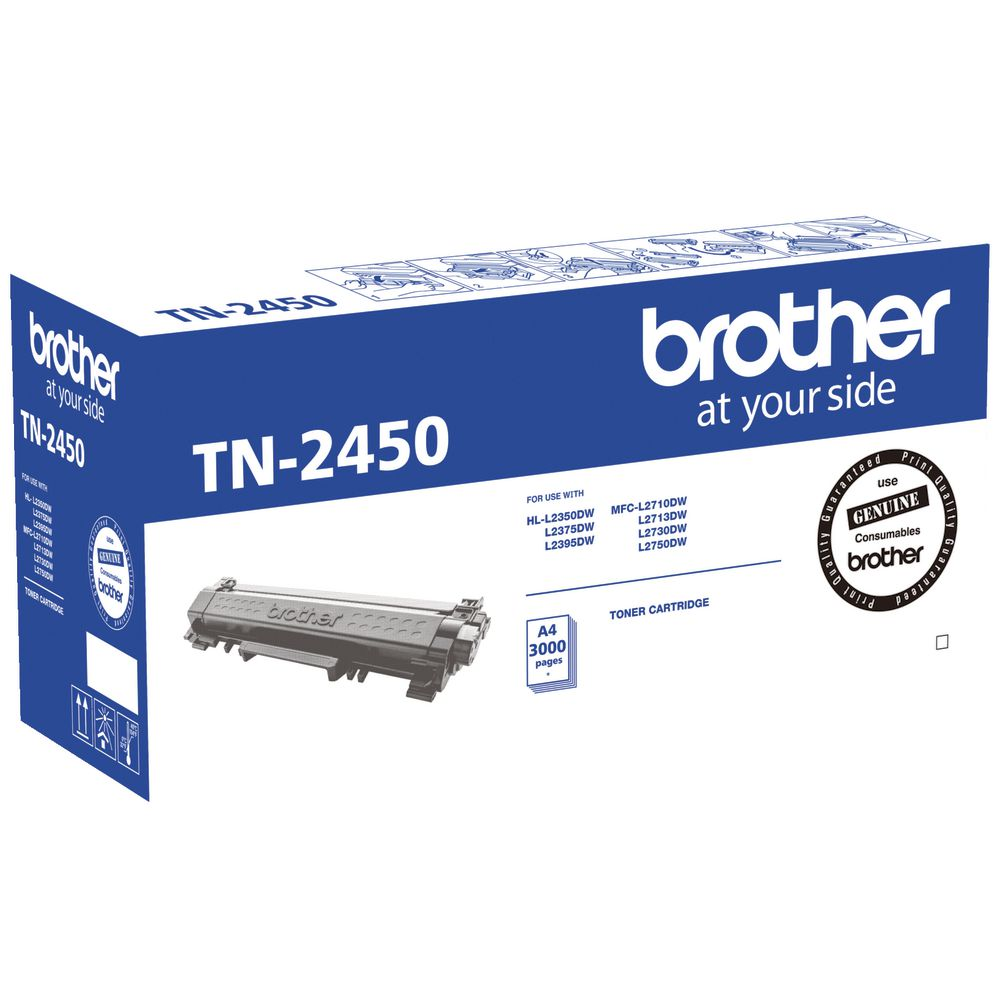 1 x Genuine Brother TN-2450 |  TN2450 Black Toner. Up to 3000 pages.