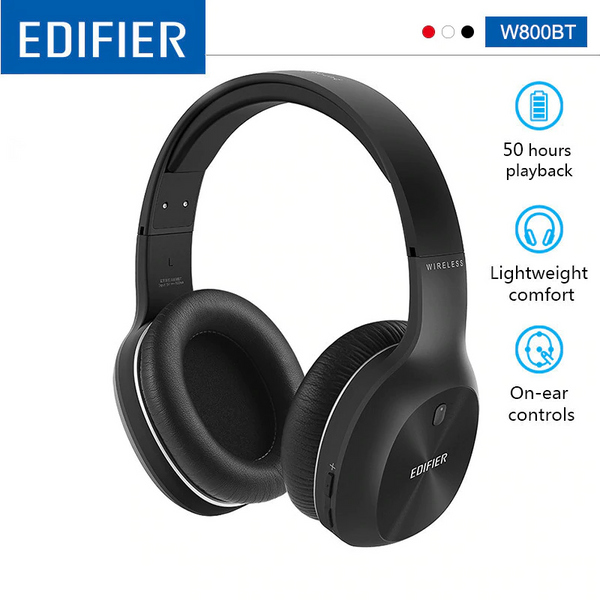 Edifier W800BT Bluetooth Over the Ear Wireless Headphone Black - 35hr Battery Life