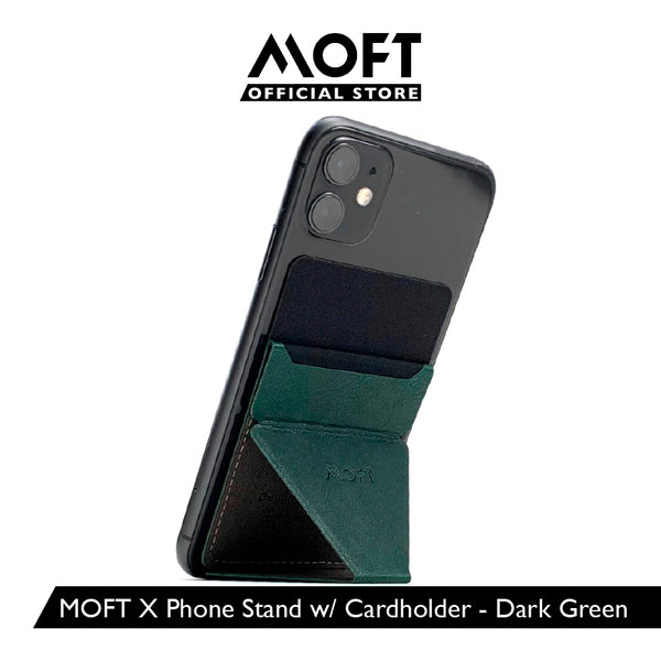 MOFT X Dark Green - [AU Stock] Invisible and Foldaway Mobile Stand | Ultra-Light Phone Wallet, Car Phone Holder