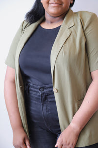 Olive Short-Sleeved Blazer