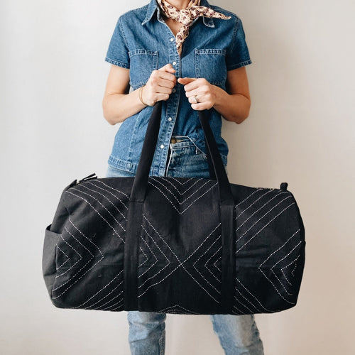 Arrow-Stitch Weekender Duffel Bag