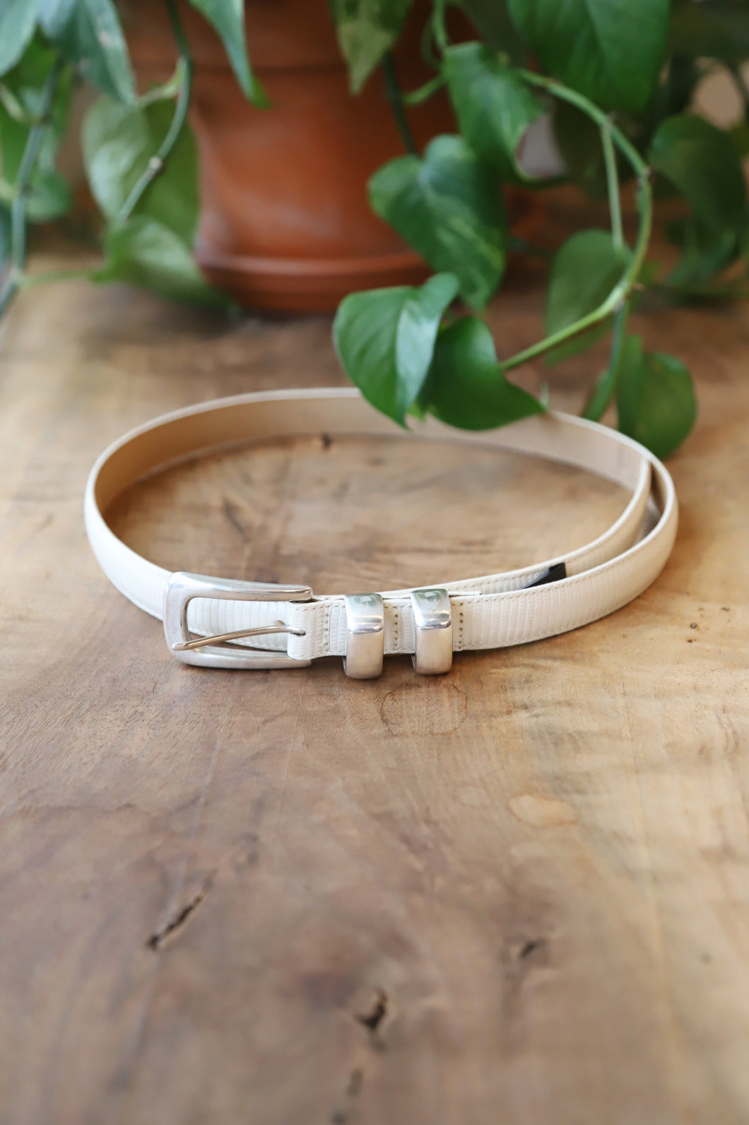 White Leather Belt - 34