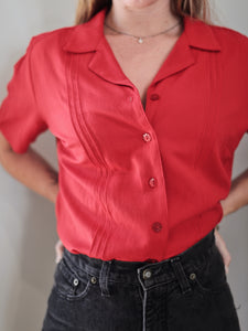 Red Short-Sleeved Blouse