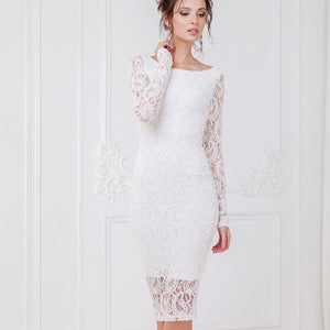 Lace Pencil Dress with Sleeves