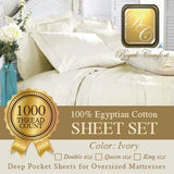 Luxurious 1000-thread count Egyptian Ivory sheet sets Double