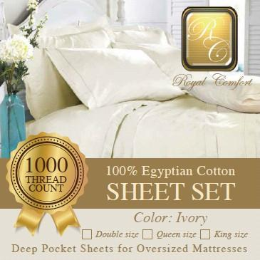Luxurious 1000-thread count Egyptian Ivory sheet sets King