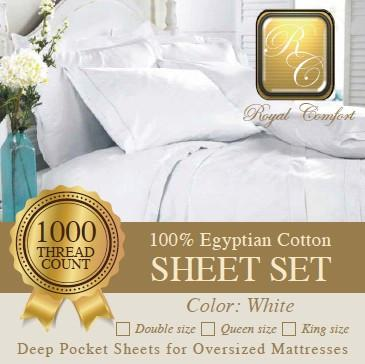 Luxurious 1000-thread count Egyptian white sheet sets King