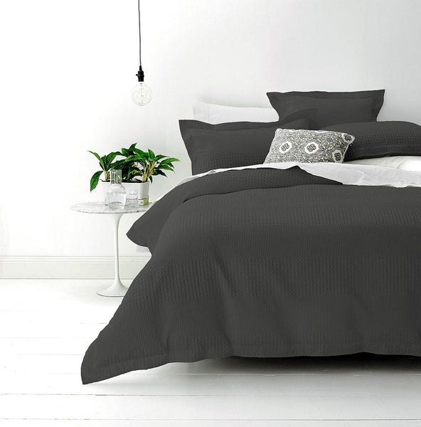 Style & Co 100 % Cotton Jacquard Waffle Quilt Cover set King Bed Granite