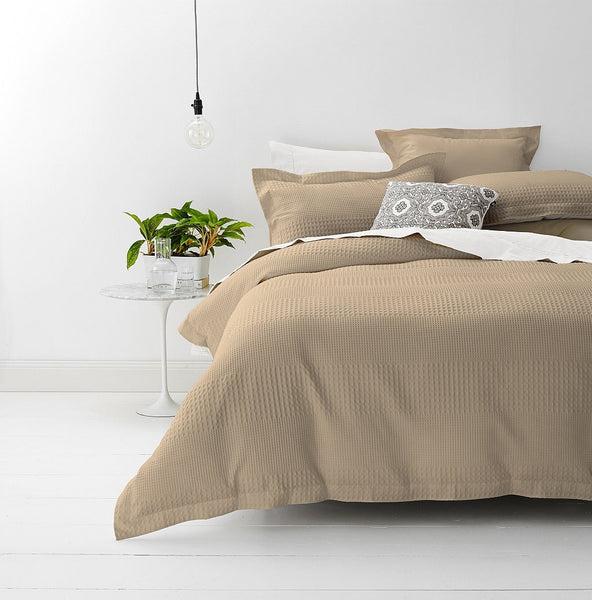 Style & Co 100 % Cotton Jacquard Waffle Quilt Cover set King Bed Stone