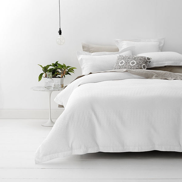 Style & Co 100 % Cotton Jacquard Waffle Quilt Cover set Super King Bed White