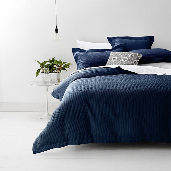 Style & Co 100 % Cotton Jacquard Waffle Quilt Cover set Super King Bed Indigo