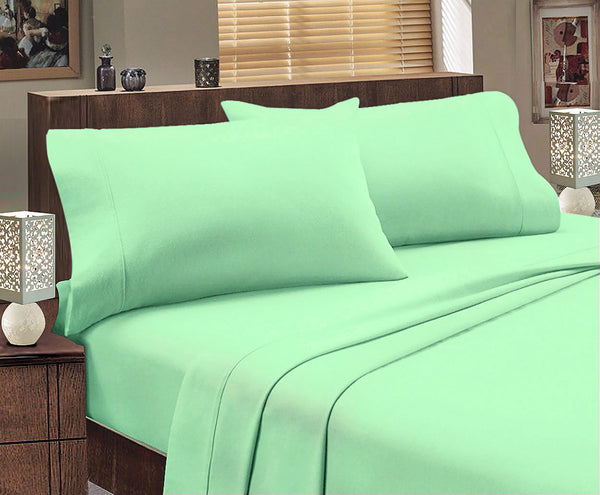 Park Avenue 175 GSM Egyptian Cotton Flannelette Sheet Set Queen Bed Mint