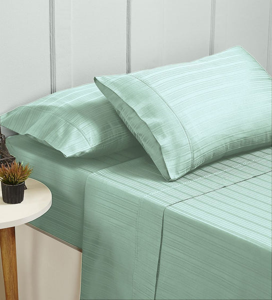 Ddecor Home 1000 Thread count Cotton Blend Como Stripes Sheet sets Queen Sprout Green