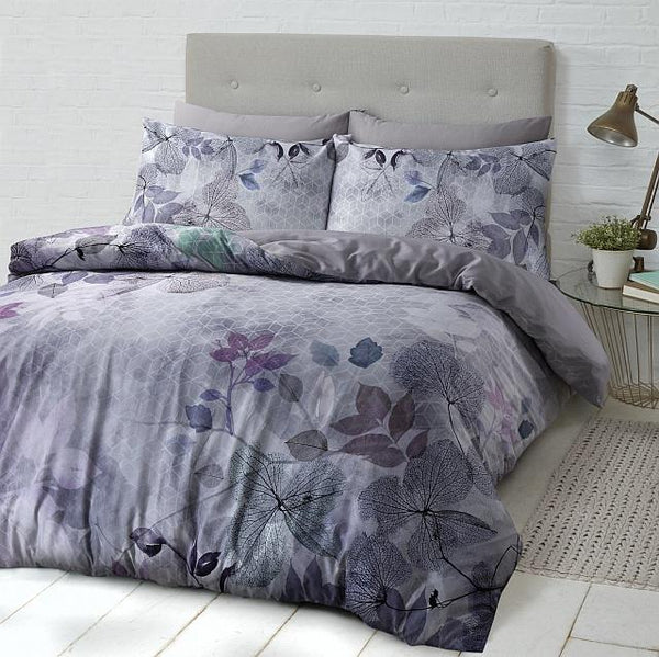 Style & Co 100 % Cotton Reversible Quilt Cover Set Single Soft Leaves