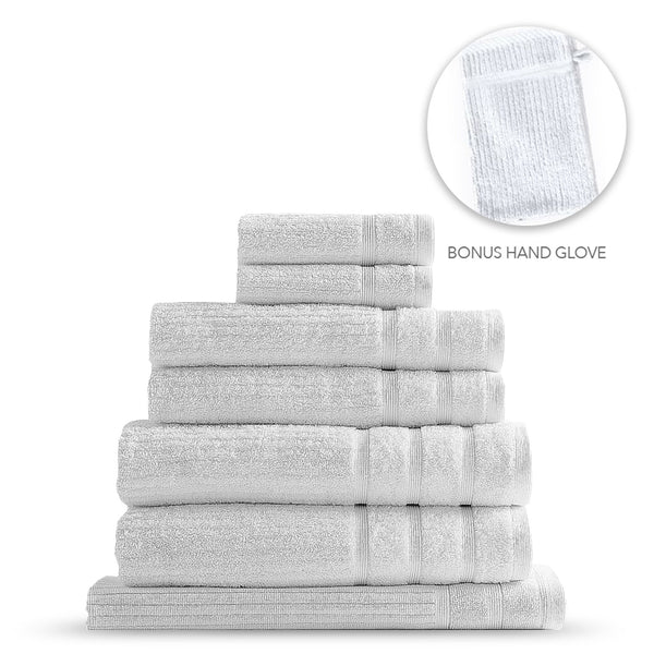 Royal Comfort Eden Egyptian Cotton 600GSM 8 Piece Towel Pack White