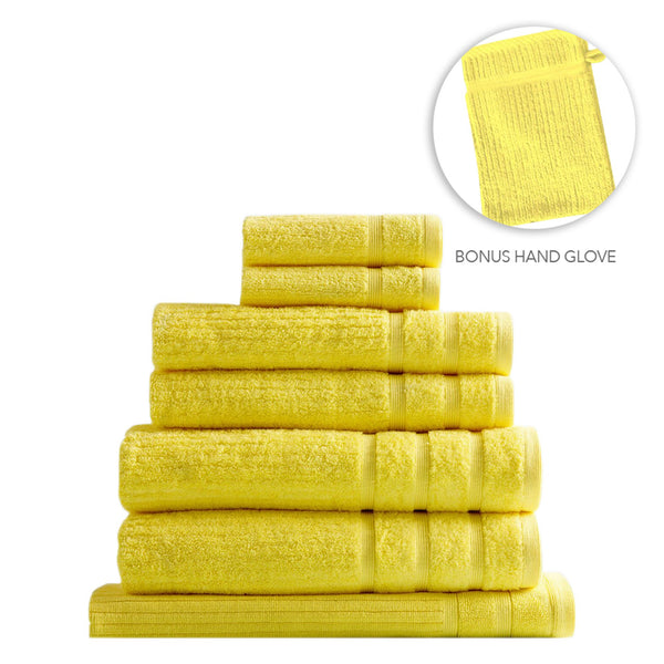 Royal Comfort Eden Egyptian Cotton 600GSM 8 Piece Towel Pack Yellow