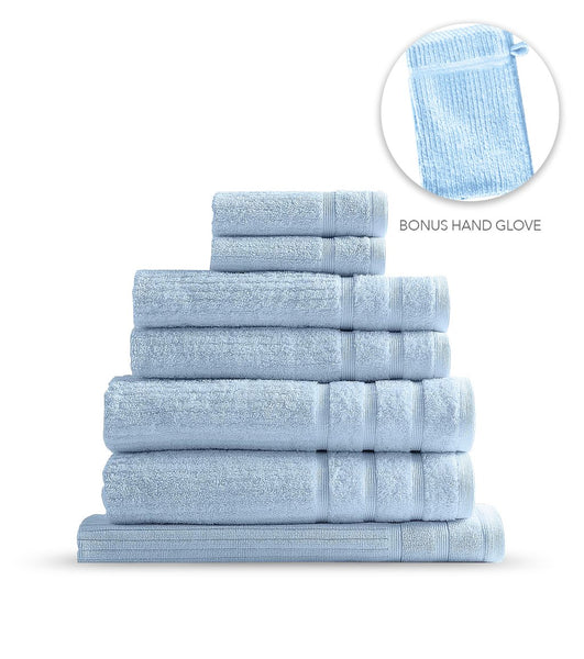 Royal Comfort Eden Egyptian Cotton 600GSM 8 Piece Towel Pack Aqua
