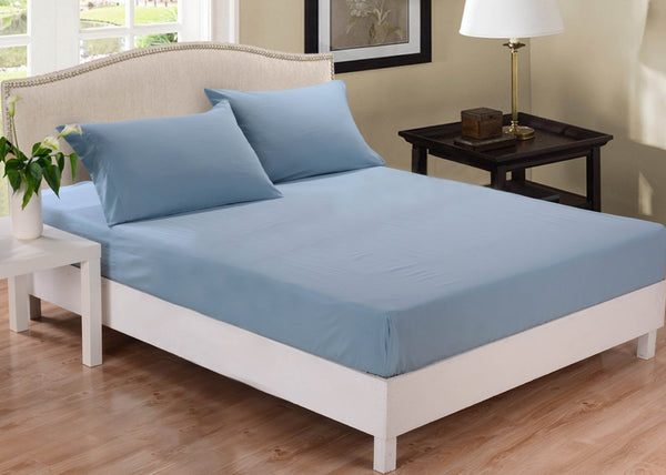 Park Avenue 1000 Thread Count Cotton Blend Combo Set Queen Bed Blue Fog