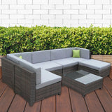 Milano Outdoor 7 Piece Oatmeal Rattan Sofa Set