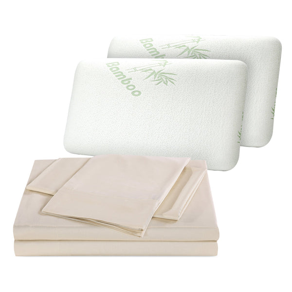 1000TC Bamboo Blend Double Dark Ivory Sheets + Shredded Bamboo Pillow Twin Pack