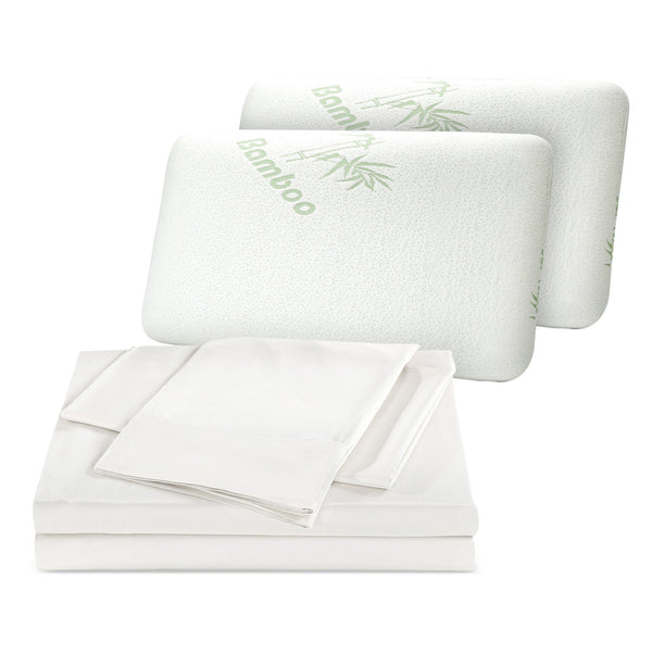 1000TC Bamboo Blend Queen White Sheets + Shredded Bamboo Pillow Twin Pack