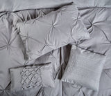 ROYAL COMFORT 7PCS PLEAT COMFORTER SET -DOUBLE CHARCOAL + Duck Pillows