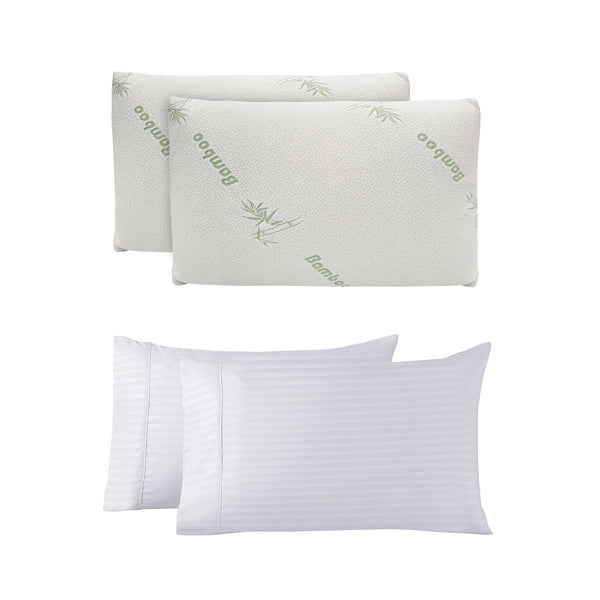 Bamboo-Covered Memory Foam Pillow Twin Pack  + Bamboo Rich Pillowcase Pack Combo - Various Colours