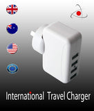 Universal travel international 4 USB port adapter power wall charger au EU UK US  plug 5V 2A
