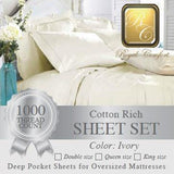 Luxurious 1000-thread count Ivory Cotton Rich sheet sets Queen