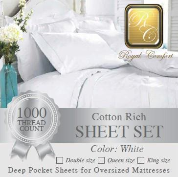 Luxurious 1000-thread count white Cotton Rich sheet sets Queen