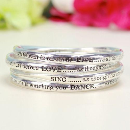 Set of Four Meaningful word Bangles Live Love Dance Sing in Silver