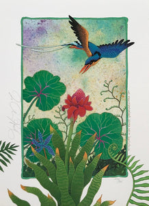 D7-'Kingfisher in Exotic Garden'